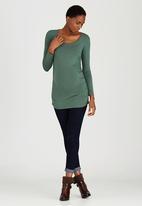 Cherry Melon - Side Gauge Long Sleeve Top Mid Green