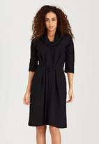 edit - Shift Dress with Self-Tie Belt Black