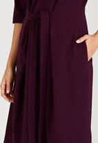 edit - Shift Dress with Self-Tie Belt Dark Purple