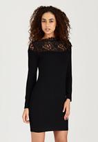London Hub - Lace Inset Mini Dress Black