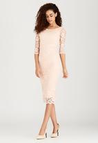 London Hub - Boat-Neck Lace Dress Pale Pink