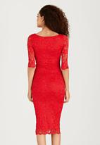 London Hub - Boat-Neck Lace Dress Red
