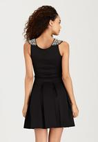 London Hub - Embellished Shoulder Dress Black