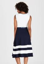 edit - Nautical Striped Fit & Flare Dress Blue and White