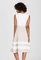 edit - Nautical Striped Fit & Flare Dress Milk