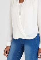 edit - Chiffon Wrap Over High-low Blouse with Cami Milk