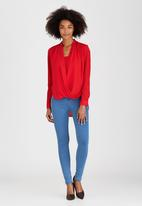 edit - Chiffon Wrap Over High-low Blouse with Cami Dark Red