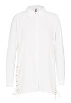 London Hub - Lace-up Side Longline Shirt White