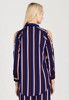 London Hub - Striped Cold Shoulder Shirt Navy
