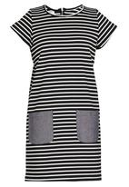 Rebel Republic - Shift Dress With Contract Pockets Black and White