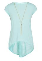 POP CANDY - Short Sleeve Tee With Chain Light Green