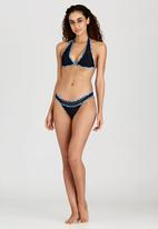 London Hub - Mesh and Mosaic Bikini Set Black and Blue