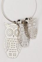 POP CANDY - Owl Charm Hoop Earrings Silver
