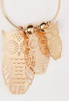 POP CANDY - Owl Charm Hoop Earrings Gold