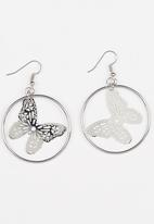 POP CANDY - Butterfly Charm Hoop Earrings Silver