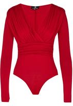STYLE REPUBLIC - V-neck Drape Bodysuit Dark Red