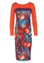 Jo Champ - Colourblock Print Dress Coral