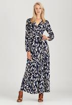 Jo Champ - Printed Maxi Wrap Dress Navy