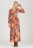 Jo Champ - Printed Maxi Wrap Dress Coral