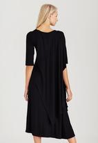 Jo Champ - Asymmetrical Draped Cape Dress Black