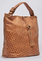 Dazzle - Woven Shoulder Bag with Tassel Detail Tan