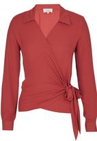 edit - Wrap-over Tie Blouse Mid Brown