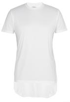 Brave Soul - Crew Neck T-Shirt with Curved Hem White