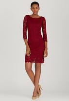 edit - Lined Lace Dress Dark Red