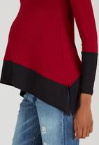 edit Maternity - Two Tone Cowl-Neck Top Dark Red