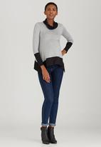 edit Maternity - Two Tone Cowl-Neck Top Grey