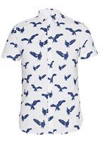 Brave Soul - Short Sleeve All Over Bird Shirt White