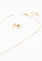 FUNKY FISH - Heart Necklace and Stud Earrings Set Gold
