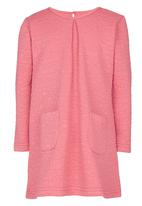 See-Saw - Textured Long Sleeve Dress Coral