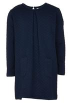 See-Saw - Textured Long Sleeve Dress Navy