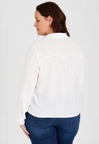 Brave Soul - Long Sleeve Wrap-Over Shirt Milk