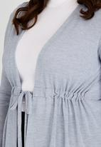 edit Plus - Knit Gauged Cardigan Grey
