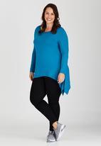edit Plus - Handkerchief Hemline Top Turquoise