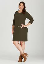 edit Plus - Longer Length Zip Top Khaki Green