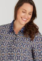 Brave Soul - Border Print Shirt Navy