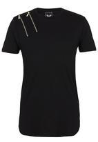 Brave Soul - Crew Neck Longer Length T-Shirt Black