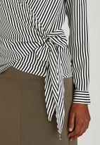 edit - Wrap-over Tie Blouse Black and White
