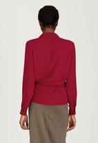 edit - Wrap-over Tie Blouse Dark Red