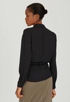 edit - Wrap-over Tie Blouse Black