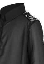 Rebel Republic - Front Tie Blouse Black