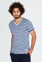 Brave Soul - V-Neck Stripe T-Shirt Blue
