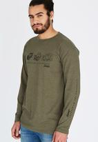 JEEP - L/S Printed Tee Khaki Green