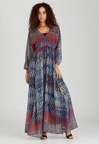 AMANDA LAIRD CHERRY - Geometric Elenora Maxi Dress Mid Blue