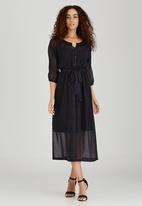 AMANDA LAIRD CHERRY - Textured Print Adalina Dress Navy