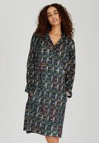 AMANDA LAIRD CHERRY - Checked Annalisa Tunic Dress Mid Green