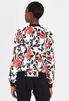 Girls on Film - Floral Bomber Jacket Black and White